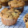 Muffins med chokolade, banan og nødder